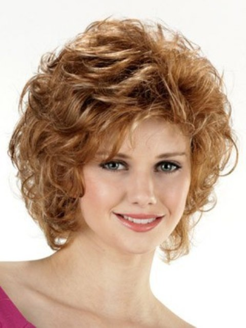 Curly Bob Hairstyle For Round Face