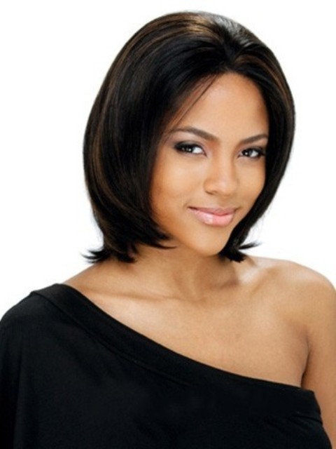 Medium Straight African American Lace Wigs for Women 12 Inch