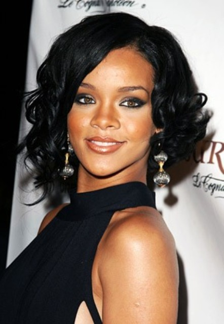 Short Black Female Rihanna Curly Celebrity Hairstyle 10 Inch