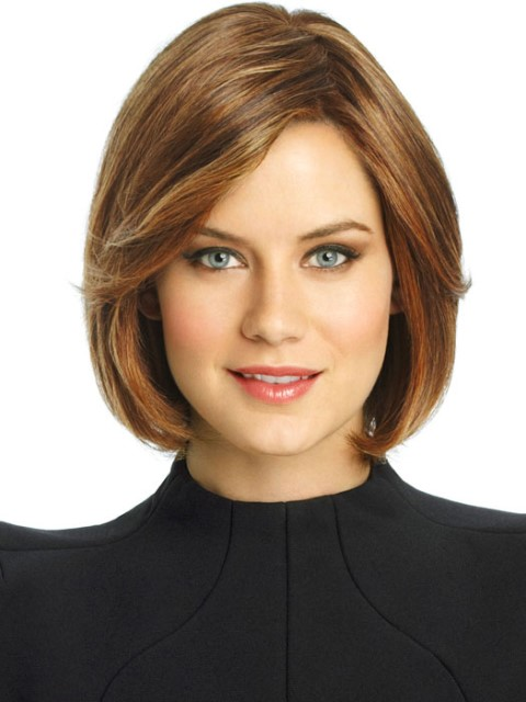 Chin-length bob cut with straight hair
