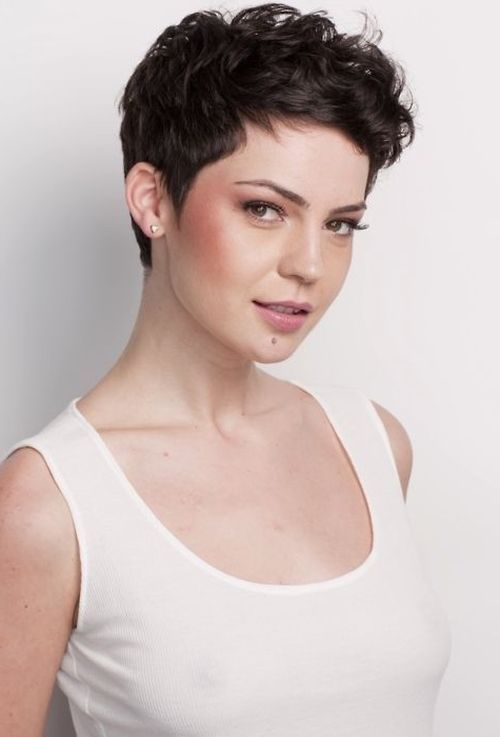 Cute Curly Pixie on dark hair