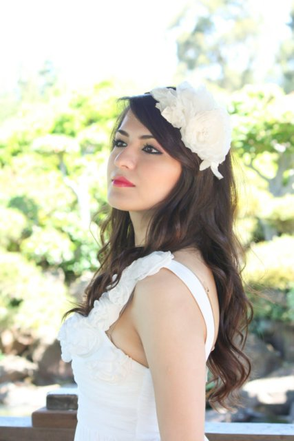 Long Wedding Hairstyles with a bridal fascinator-2