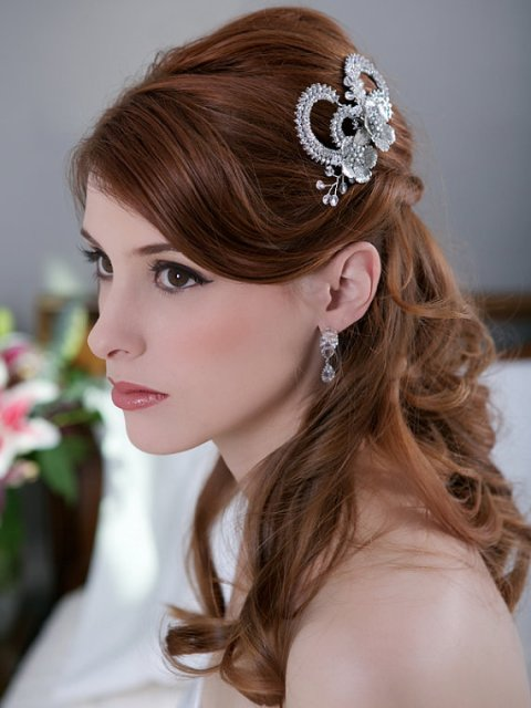 Long Wedding Hairstyles with a silver crystal hair clip