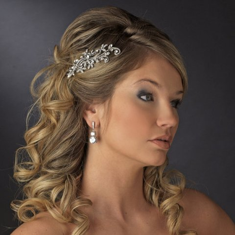 Long Wedding Hairstyles with a wedding hair comb