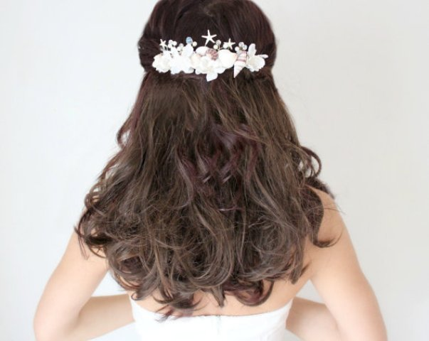 Long Wedding Hairstyles with beach wedding comb-2