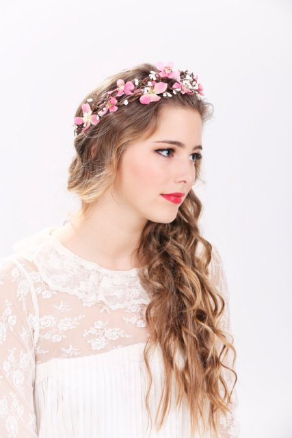 Long Wedding Hairstyles with pink flower crown-2