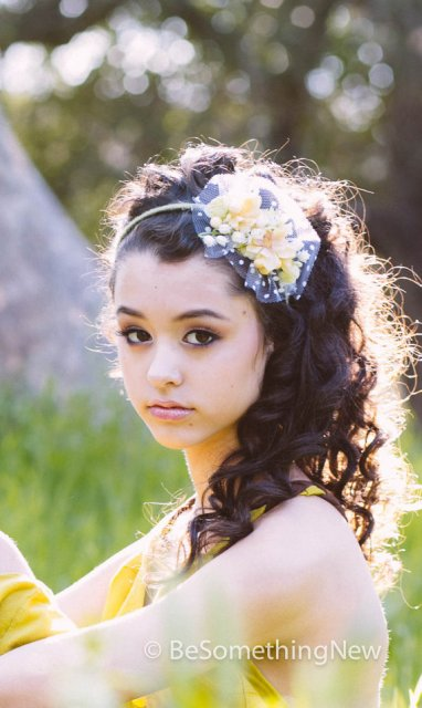 Long Wedding Hairstyles with spring flower headband - 2