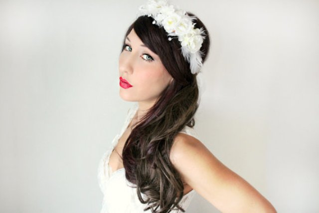 Long Wedding Hairstyles with white flower crown-2