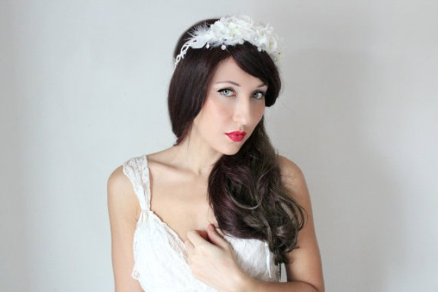 Long Wedding Hairstyles with white flower crown
