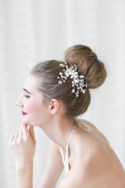Wedding Hairstyles with a crystal hair comb