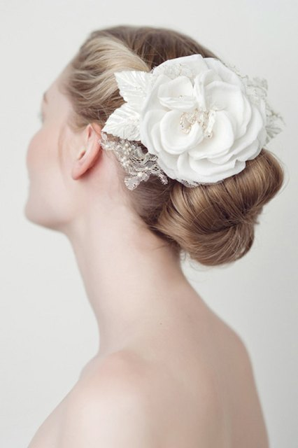Wedding Hairstyles with a floral hair comb