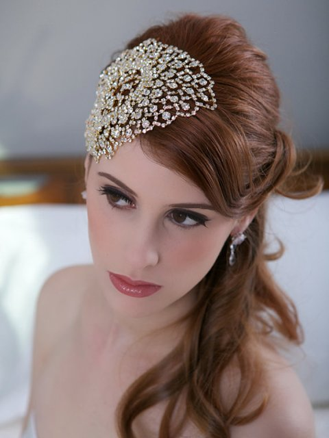 Wedding Hairstyles with a gold crystal head piece