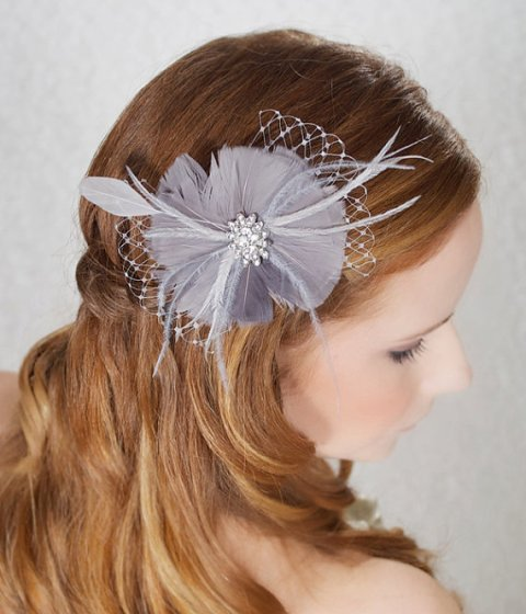 Wedding Hairstyles with a gray bridal fascinator
