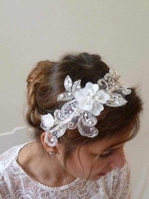 Wedding Hairstyles with floral bridal headband