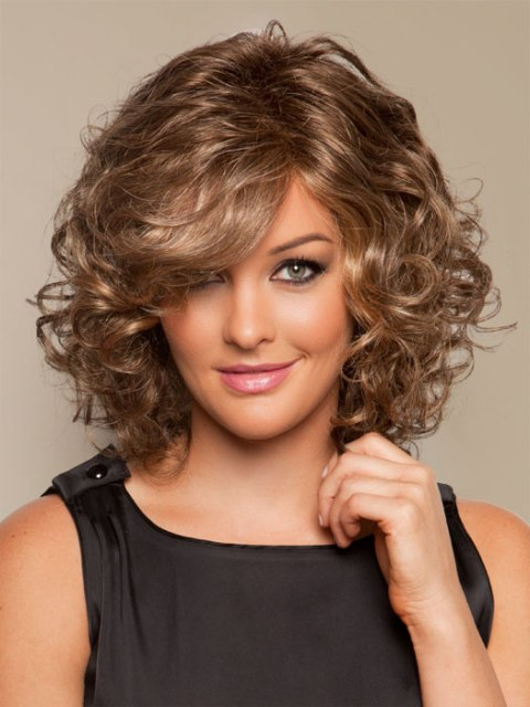 Shoulder-Length Curly Hair Cuts Round Face