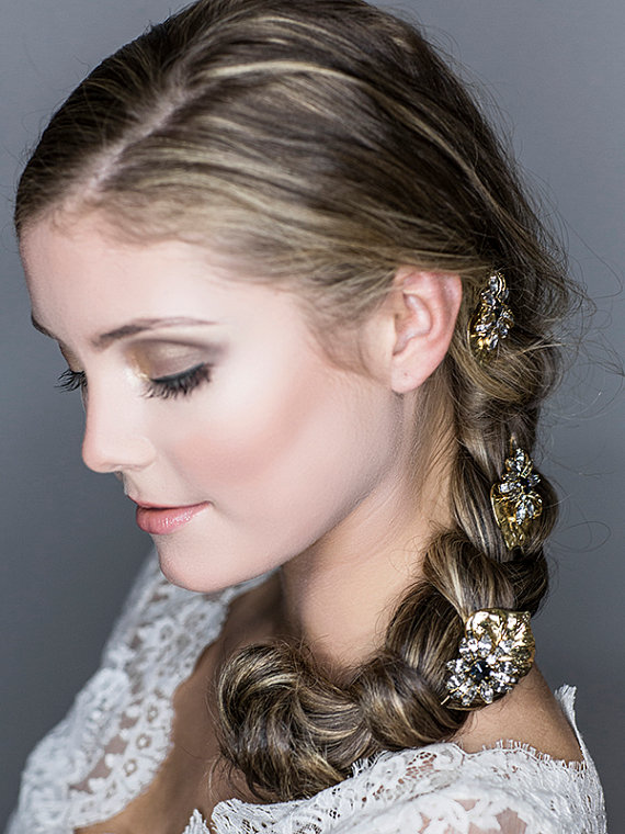 Wedding Hairstyles for Long Hair with Crystal Hair Pins