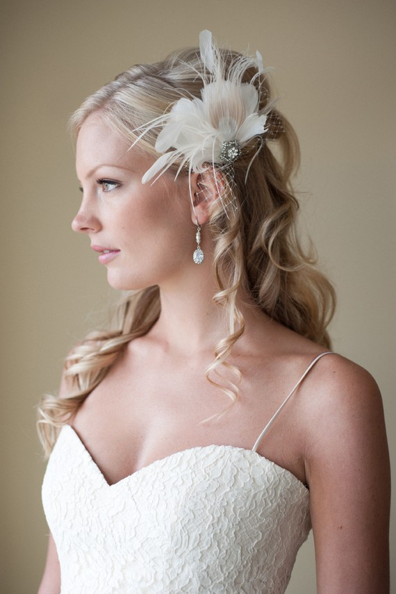 Wedding Hairstyles For Long Hair With Ivory Feather Fascinator
