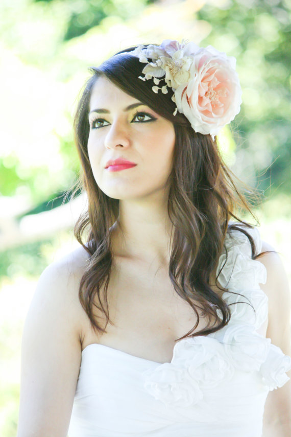 Wedding hairstyles for long hair with pink flower fascinator wedding hairstyles for long hair with pink flower fascinator mightylinksfo