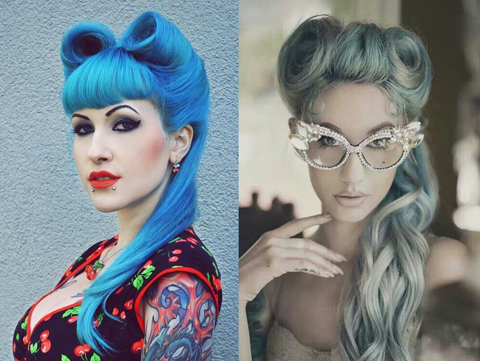 Blue pin-up girl Halloween hairstyle