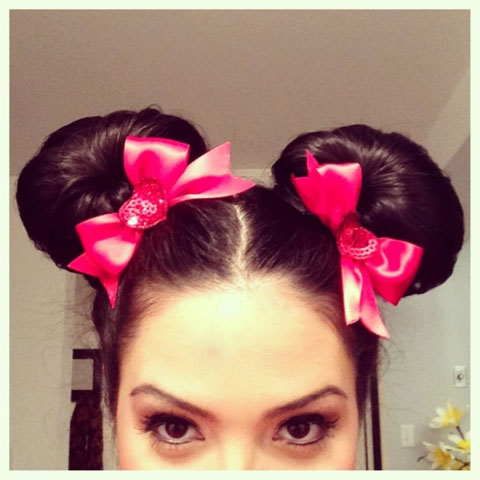 Mini Mouse easy Halloween hairstyle tutorial