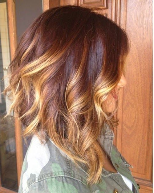 A-line bob with ombre and soft beachy curls