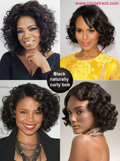 Black naturally curly bob