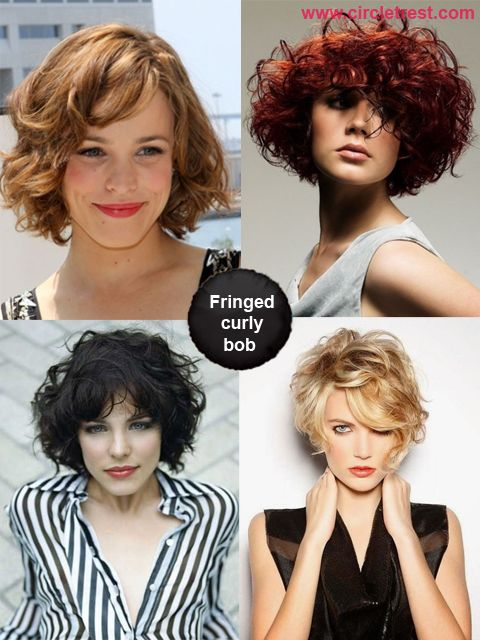 Curly bob with bangs and fringe