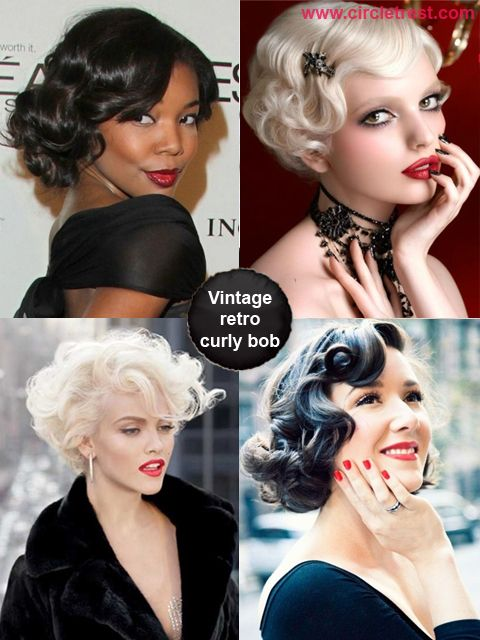 Vintage retro curly bob