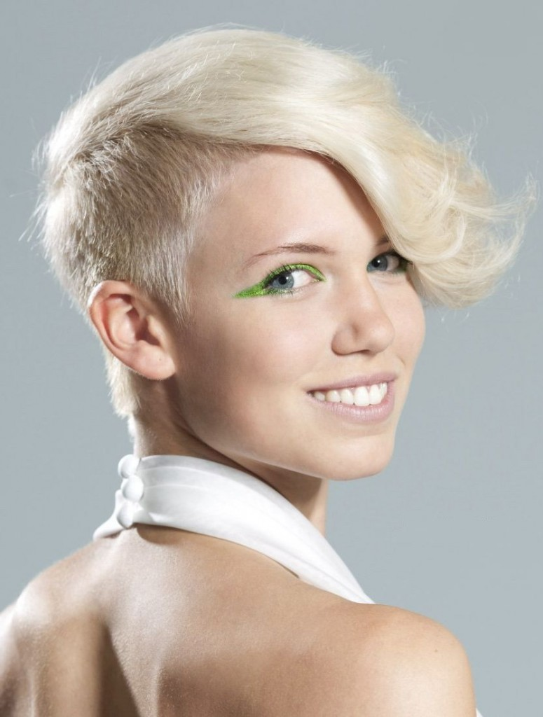 Side cut short hairstyle