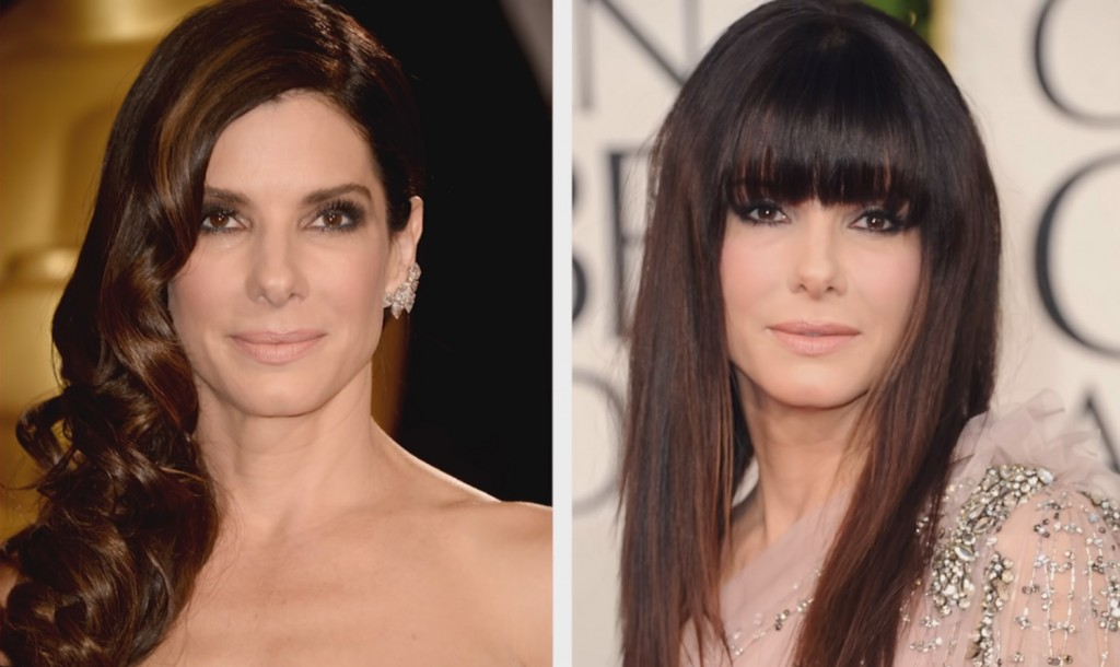 Sandra Bullock with and without the fringe