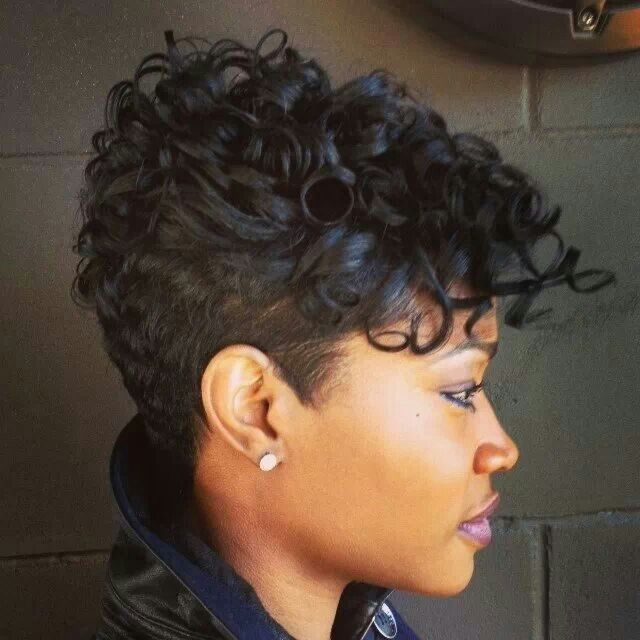 Soft curls on short tapered haircut