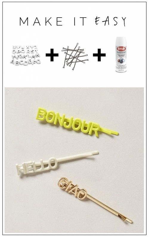 Easy DIY word up hairclips