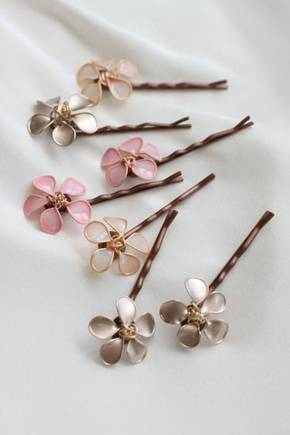 Nail polish flower and wire hair clips