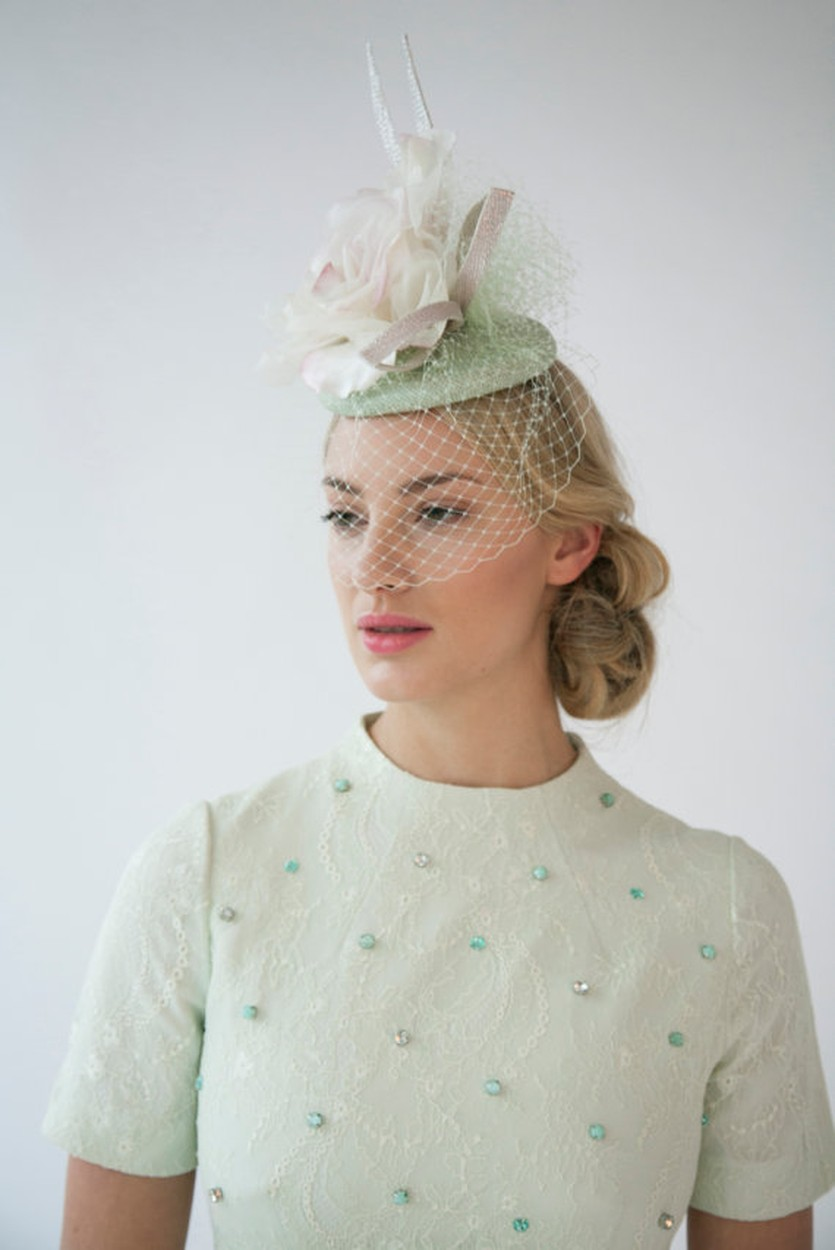 Beautiful hat with birdcage veil. Ideal for wedding