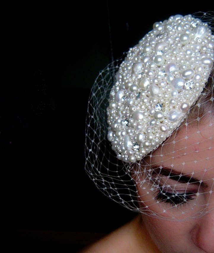 Pearl and Crystal Bridal Hat with birdcage veil