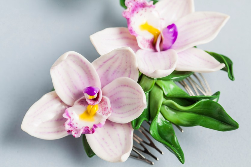 Polymer clay orchid bridal hairpin