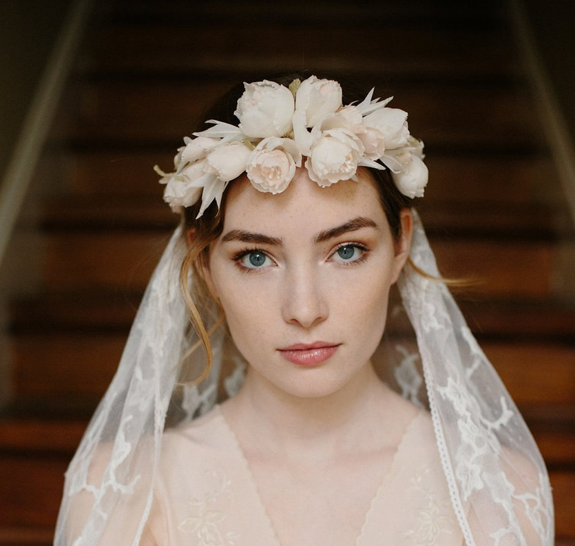 White Bridal floral crown with veil