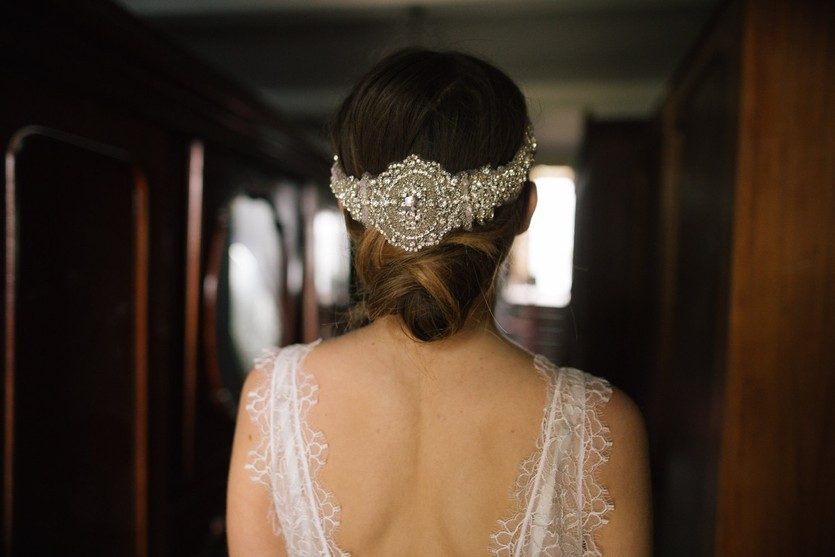 Embroidered crystal and pearl wrap headpiece
